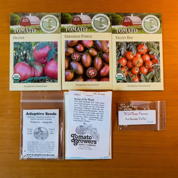 Seed packets tomatoes