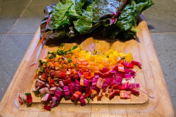 Chard, rainbow cut up
