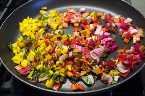 Chard rainbow in skillet