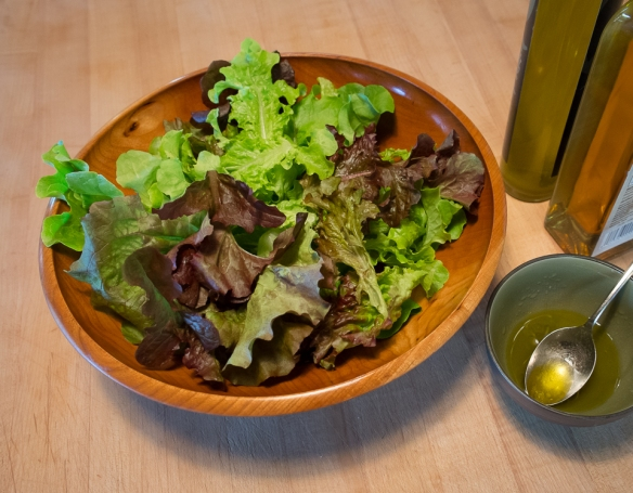 Lettuce mix in salad bowl
