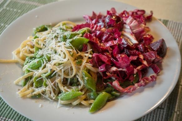Fava, cacio, pepe pasta w: salad