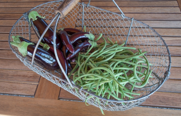 Eggplant Green Beans in basket