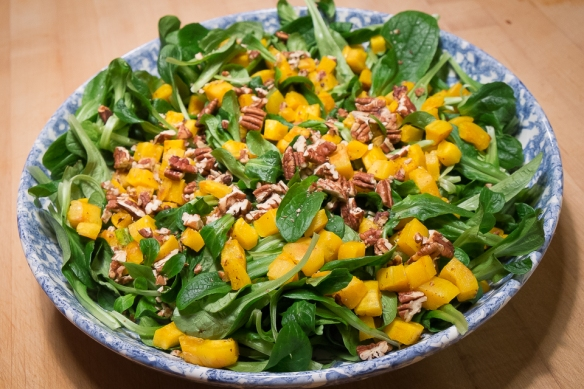 Delicata Squash and mache salad