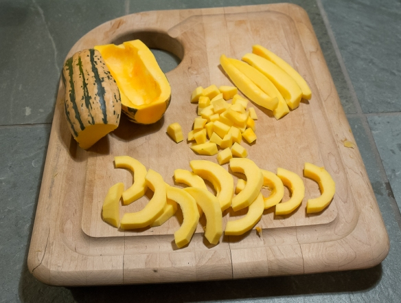Delicata squash sliced