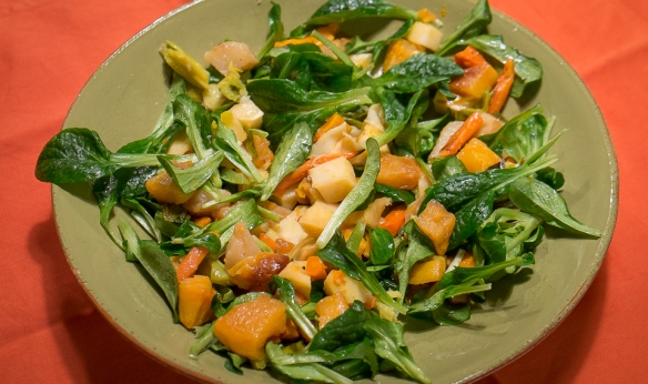 Mache & roasted root salad