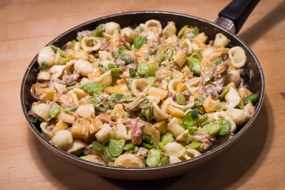 Parnips, sausage, fava pasta