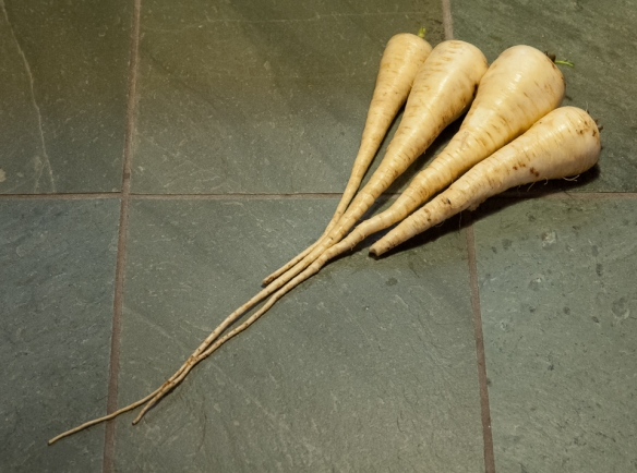 Parsnips on counter
