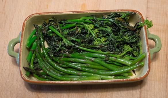 Asparagus mustard raab saute