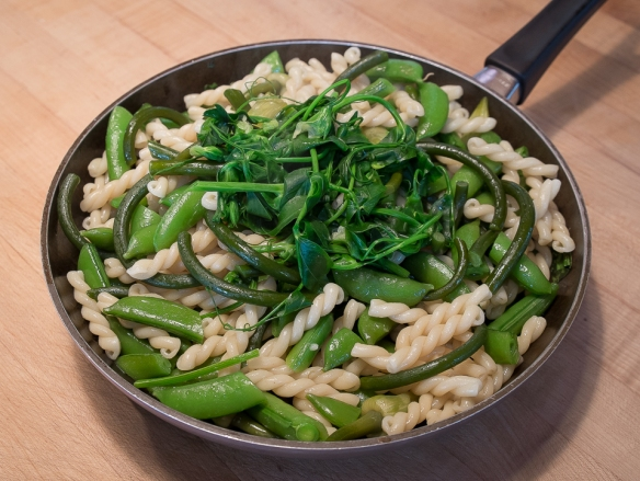 Garlic scape and pea pasta