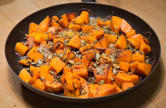 Butternut squash cardamom frying pan