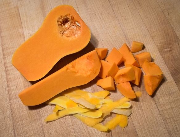 Butternut squash cut up