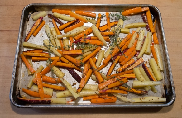 Carrots, colors, in roasting pan