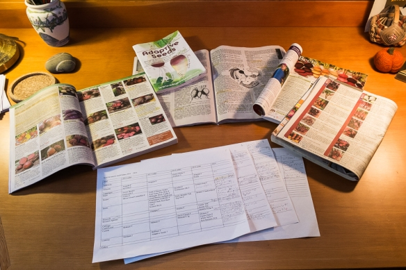 Seed catalogs on desk