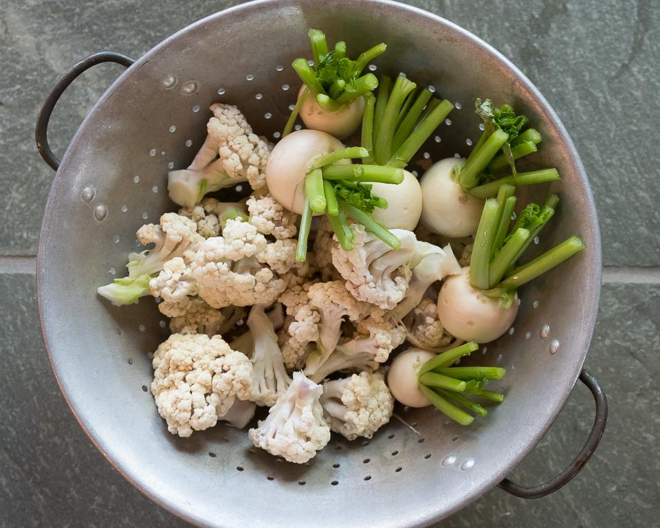 Spring turnips and cauliflower