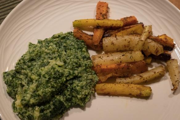 polenta-with-kale-puree-on-plate