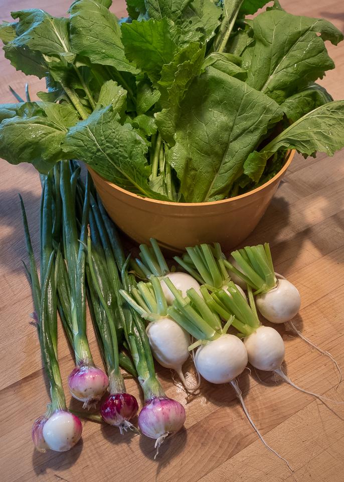 Turnips, greens, onions