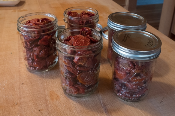 Dried tomatoes in jars