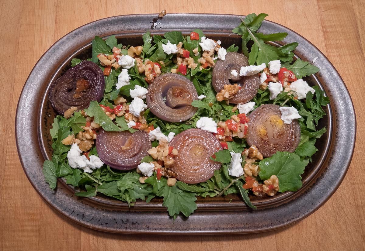 Red onion walnut salsa salad
