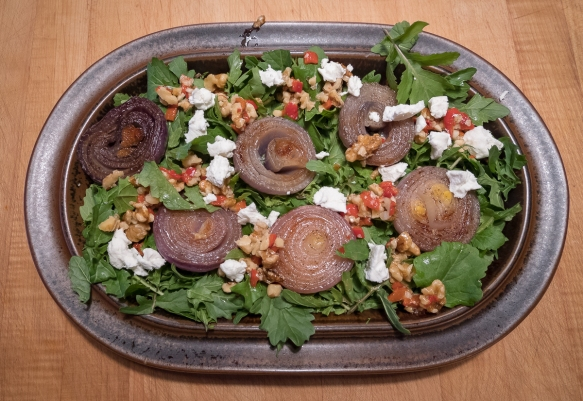 Red onion walnut salsa salad