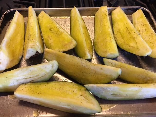 Eggplant wedges raw