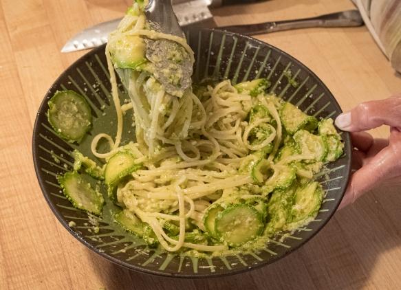 Zucchini pasta sauce in bowl