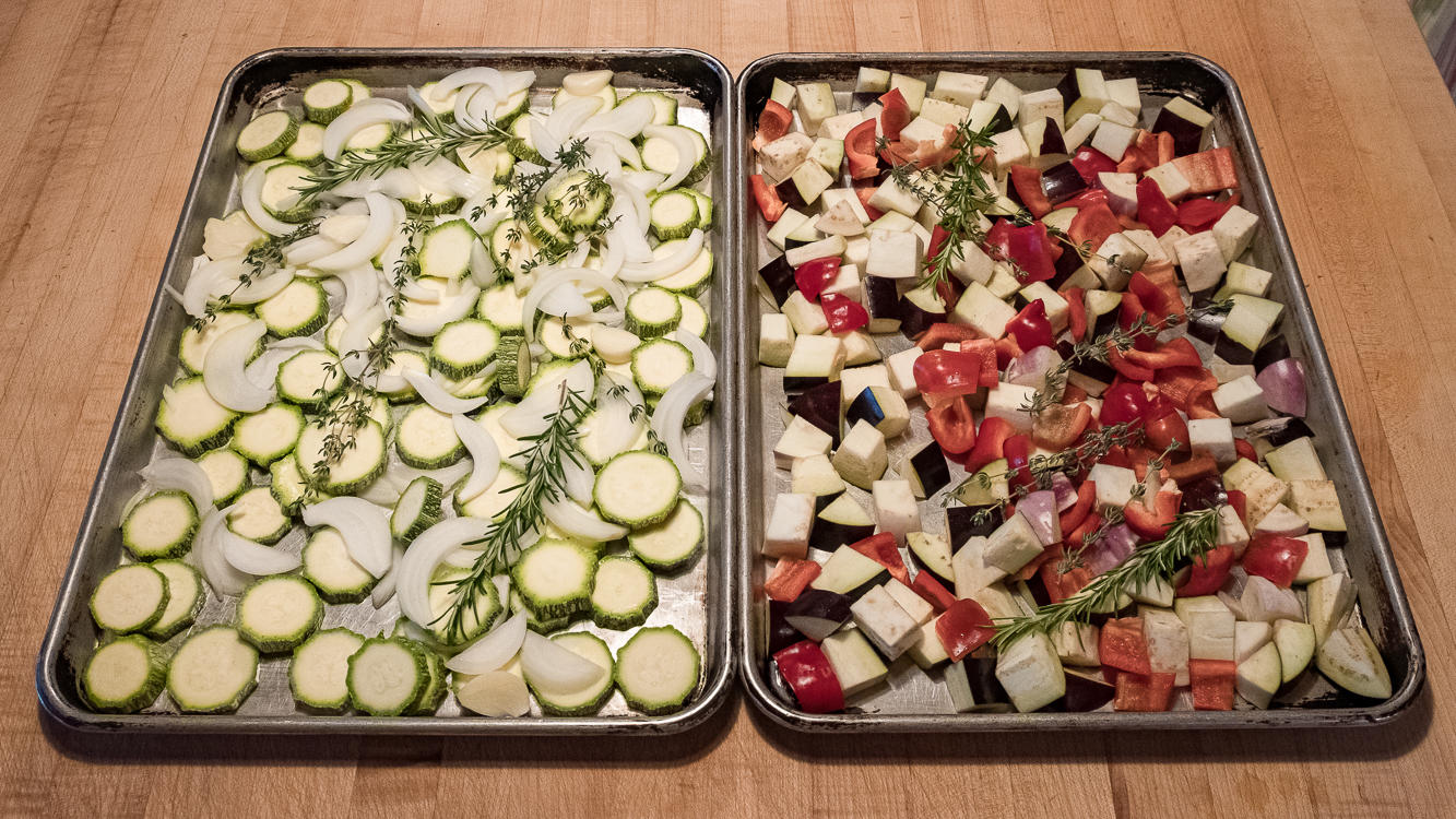 Rataouille raw on pans