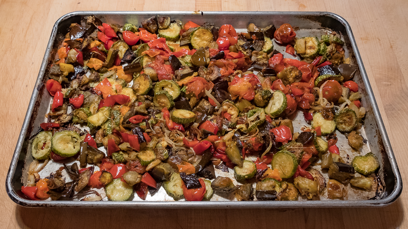 Ratatouille roasted on pan