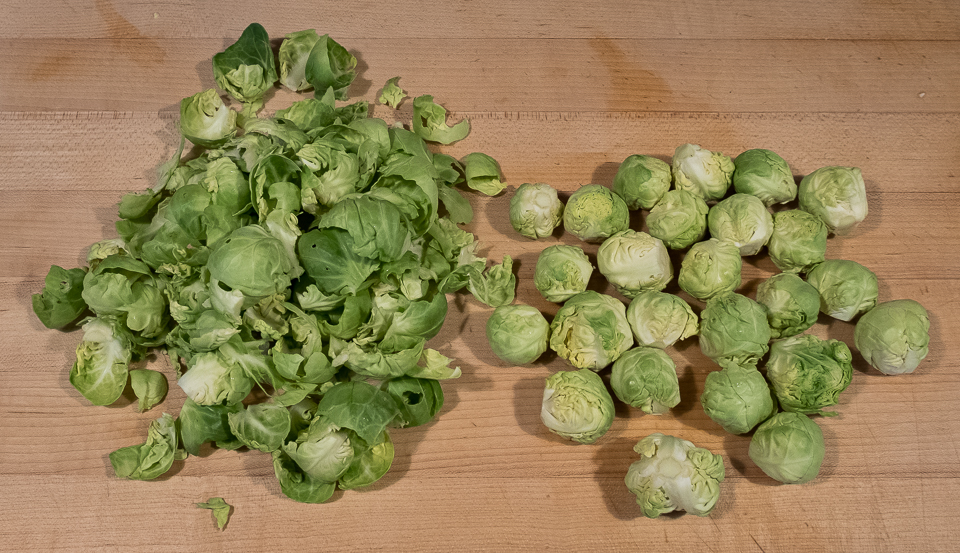 Brussels sprouts leaves and centers