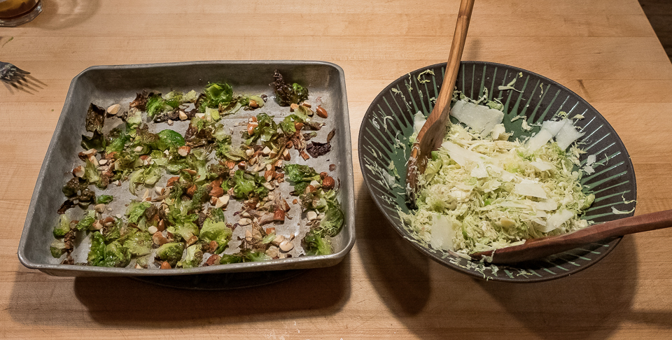 Brussels sprouts salad set up