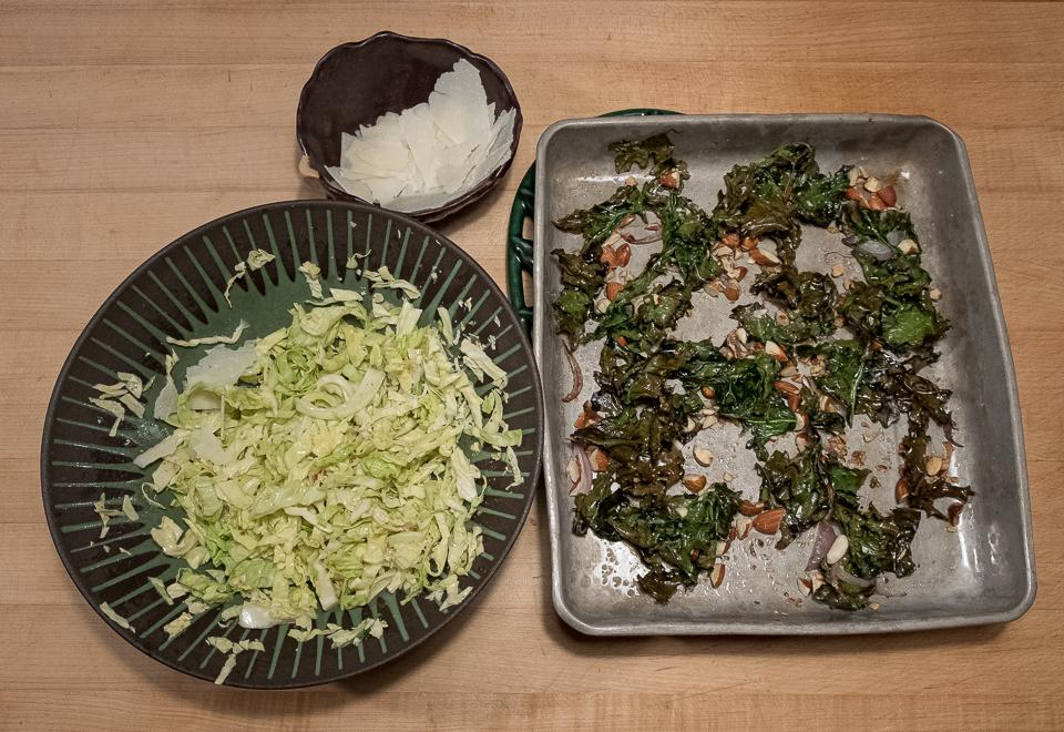 Cabbage Kale salad set up