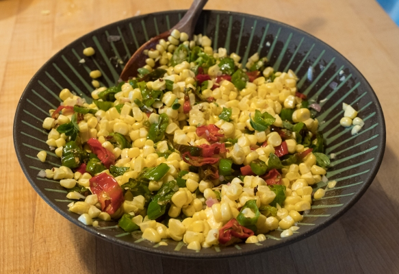 corn shishito salad